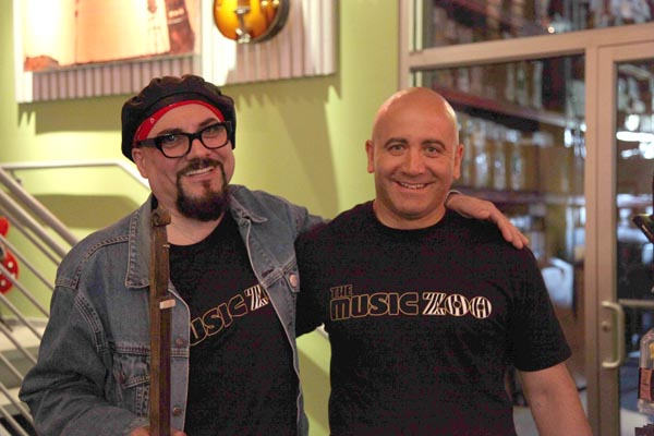 Tommy Colletti, owner of the Music Zoo, and Jimmy Vivino of the Conan show.