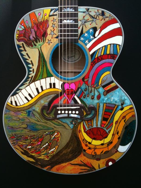 Gibson J200 painted by Nashville artist, Mandy Lawson and signed by Country music's hottest stars on eBay Giving Works